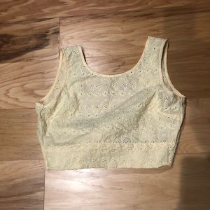 Pacsun yellow eyelet crop top with bow back